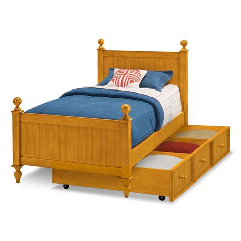 colorworks twin bed with trundle honey pine value city