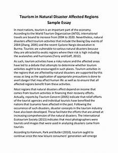 Tourism in natural disaster affected regions sample essay