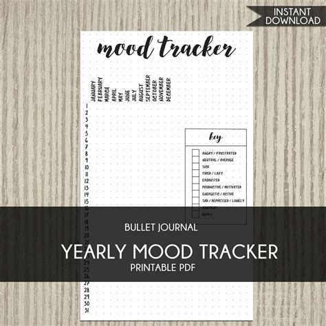 bullet journal template printable planner yearly mood tracker