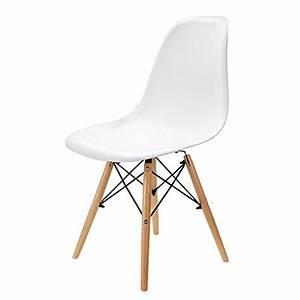 Wv leisuremaster lot de 4 chaises blanches de salle a for Deco cuisine avec chaise de salle À manger contemporaine