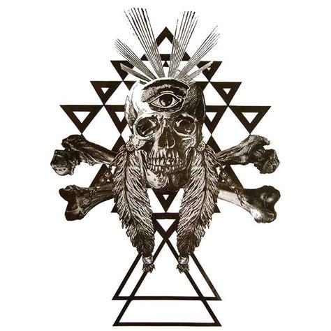 tatouage ephemere tete indien crane tete de mort