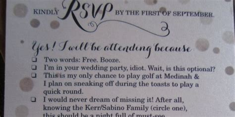 rsvp cards for weddings wording 8 couples who don 39 t take the whole wedding thing too seriously