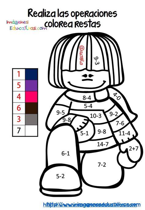 Fichas colorear sumas y restas (6) Imagenes Educativas