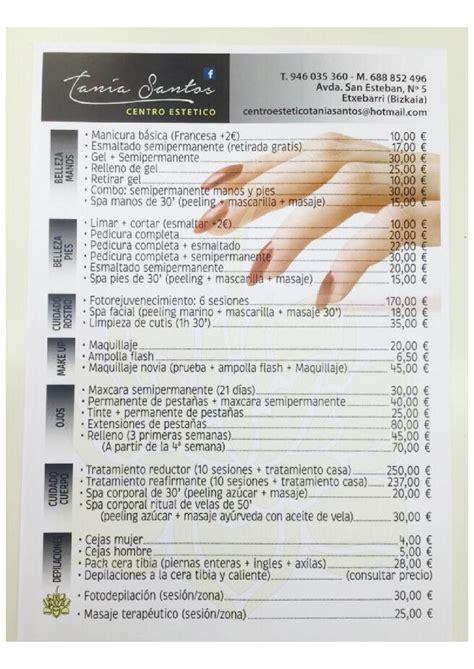 carta de precios  servicios  centro estetico tania