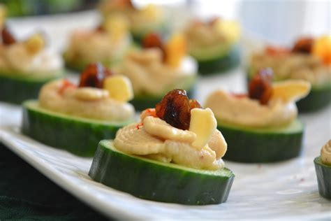 vegetarian canapes easy cucumber hummus canapé my signature dish