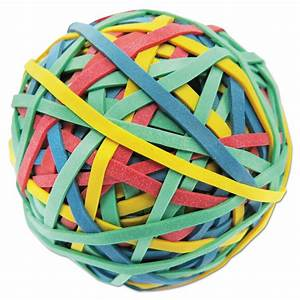"Rubber Band Ball, 3"" Diameter, Size 32, Assorted Colors, 260/Pack - NuLeaf Office Solutions Balls and Bands"
