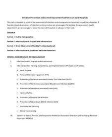 Infection Control Assessment Form