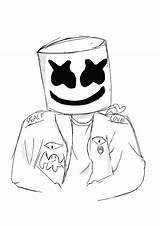 Coloring Marshmello Fortnite Pages sketch template