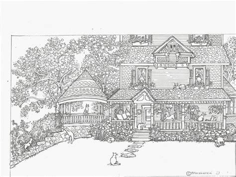 adult coloring page house  cats  bestofcoloringcom