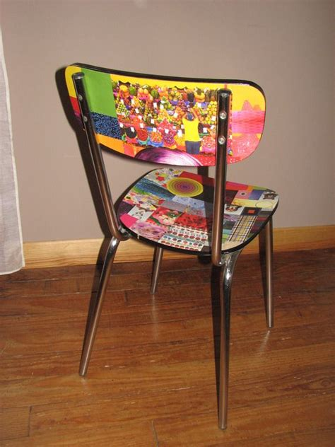 chaise formica relookée en papier collé multicolore a