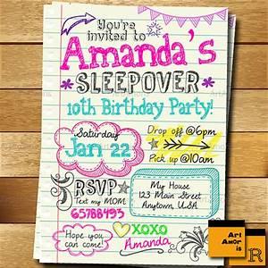 Sleepover Invitation Doodle Teen Notebook Sleepover