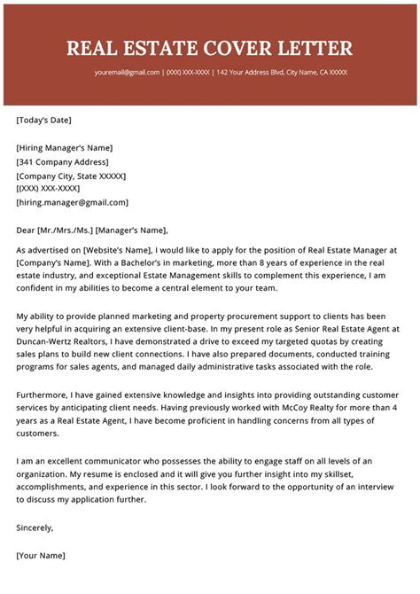 real estate agent realtor cover letter  template