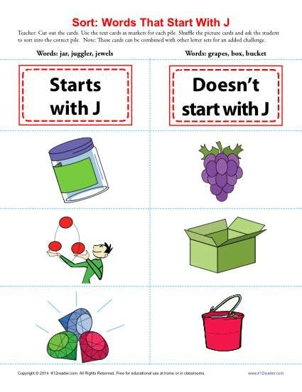 words starting with j beginning consonant worksheets 472 | sort words that start with j