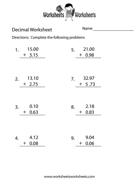 decimal addition worksheet worksheets worksheets