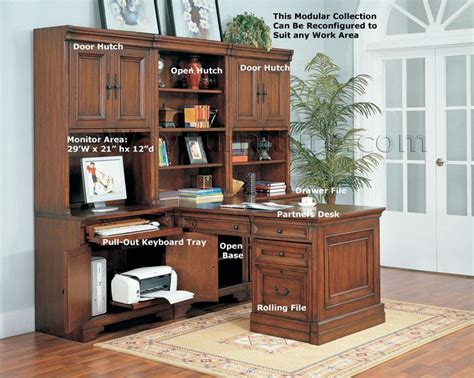 Modular Home Office Furniture by Aspenhome Warm Cherry Executive Modular Home Office