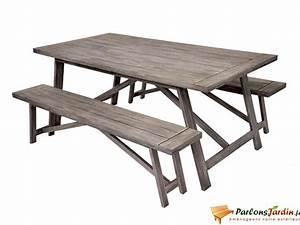 Table Et Banc De Jardin : salon de jardin en bois avec 2 bancs milano sur ~ Melissatoandfro.com Idées de Décoration