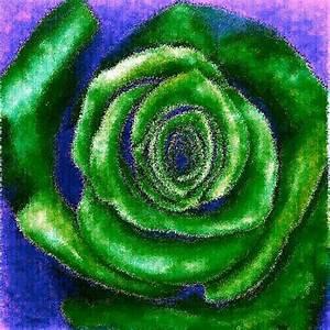Single Rose Green On Blue Mixed Media by Mandi Ward