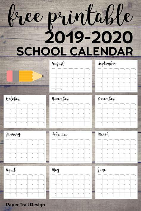 printable school calendar paper trail design