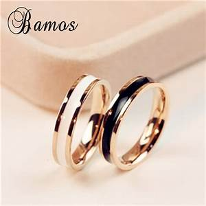 bamos female white black ring girls rose gold fille ring With wedding ring for girl