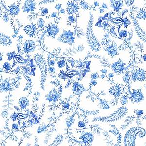 Blue And White Floral Wallpaper. Floral Seamless Pattern ...