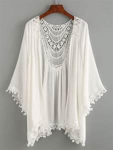 Kimono Long Femme : kimono en dentelle et crochet blanc french romwe ~ Farleysfitness.com Idées de Décoration