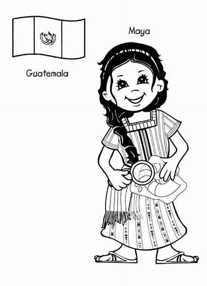 Coloring Around Maya Kid Guatemalan Pages Guatemala