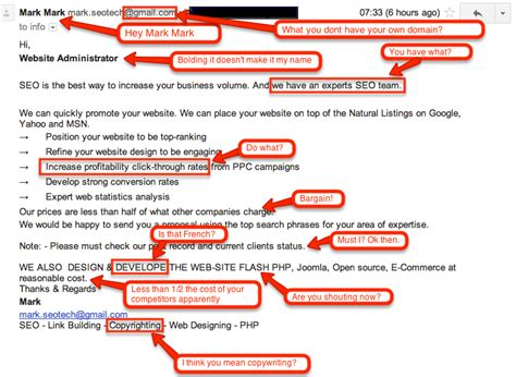 what is meant by seo spam seo email exles just for