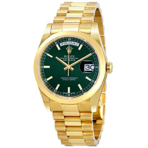 Rolex Day-Date Automatic Green Dial Men's 18kt Yellow Gold ...
