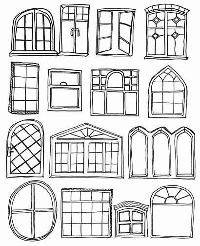 Coloring Pages Window Windows Door Drawing Sketch