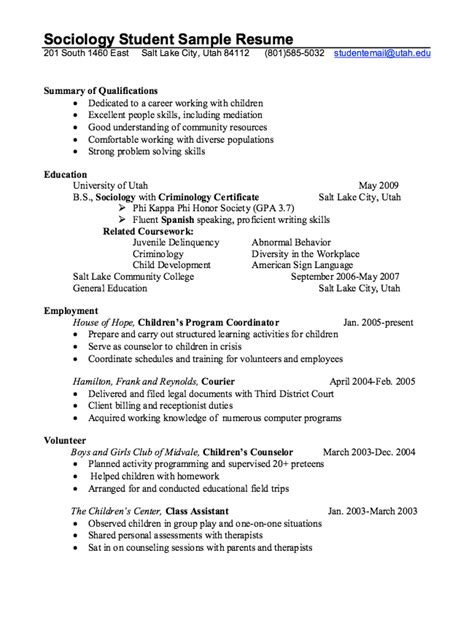 sociology resume objective exles sociology student resume exle resumes design