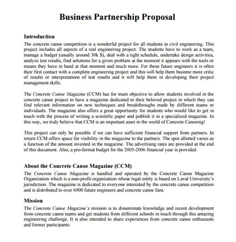 sample partnership proposals
