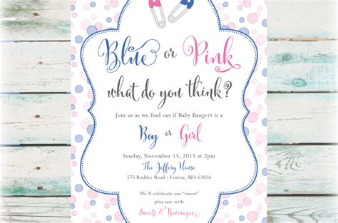 printable blue  pink gender reveal party invitation