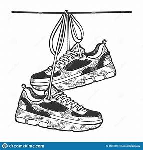 Sneakers On Wire Sketch Engraving Vector Stock Vector