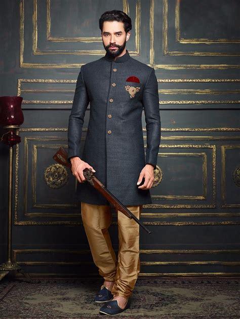 dark grey terry rayon solid jodhpuri sherwani sherwani