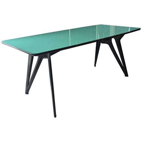 turquoise table l 1950s italian desk or dining table original turquoise