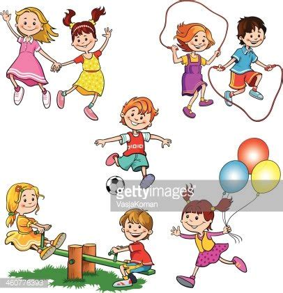 crian 231 as brincando premium clipart clipartlogo 592 | 32424956 children at play