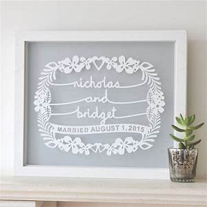 Personalised Wedding Gift Papercut Wall Art By Ant Design