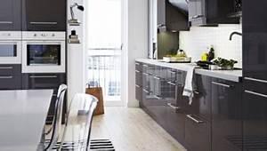 Meuble De Cuisine Blanc Laqué : meuble cuisine noire laqu plan de travail blanc ikea ~ Teatrodelosmanantiales.com Idées de Décoration
