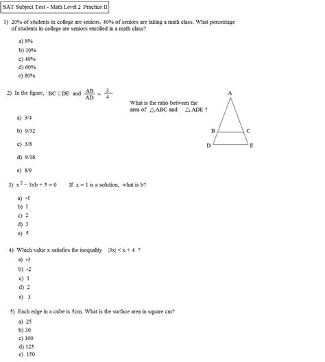Sat Math Practice Worksheets Worksheets For All  Download And Share Worksheets  Free On