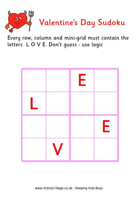 valentine word sudoku easy