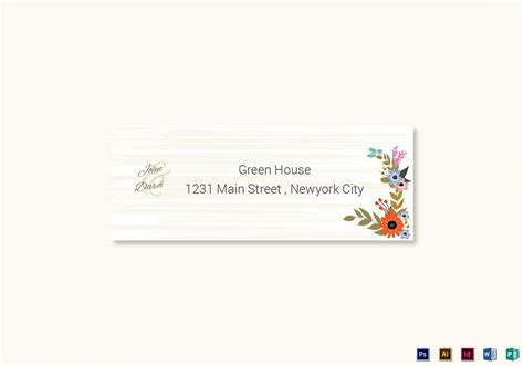 address card template word summer floral wedding address label card template in