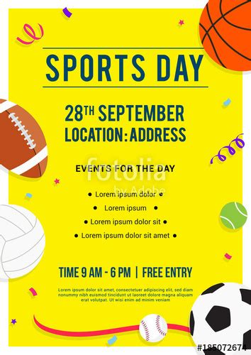 Sports Day Poster Template Quot Sports Day Poster Invitation Vector Illustration Sport