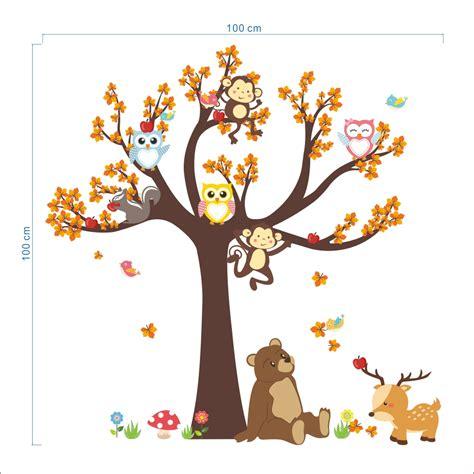 dessin cuisine 3d sticker l arbre avec les hiboux et animaux de la forêt