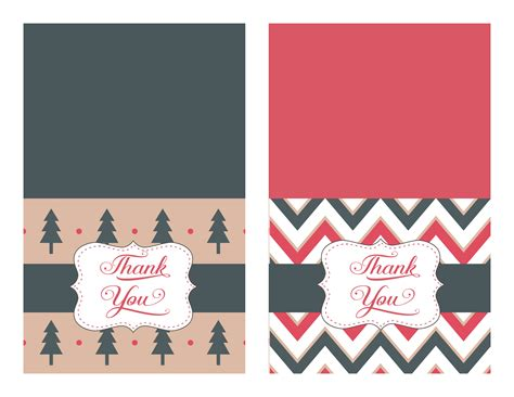 printable christmas thank you cards 3 designs to choose from