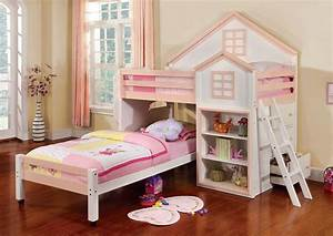 Loft Bed House White+Pink Twin / Twin Bunk Bed + Bookcase ...