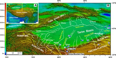 Map Showing The Physical Geography Of The Tarim Basin, The