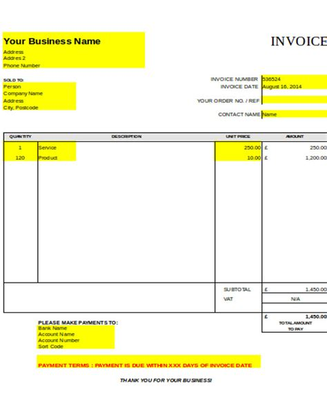 carpentry invoice template  simple  important