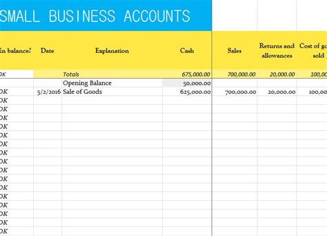 small business accounts sheet  excel templates