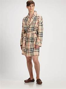 Burberry check robe in natural for men lyst for Robe bébé burberry