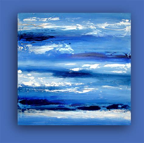 Art Original Modern Contemporary Blue And White Abstract